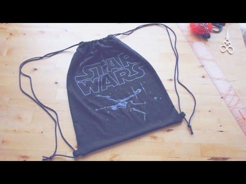 Refashion DIY Drawstring Backpack / Gym Bag // 簡単リメイク ✂️ ナップサックの作り方ㅣmadebyaya