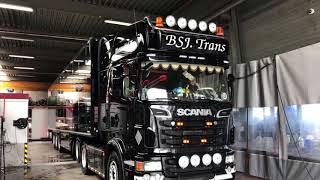 Briliant Result! Black Scania V8 from dull to dark Black & shiny with ProNano Non contact Truck Wash