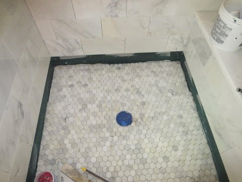 Marble Carrara Tile bathroom Part 5 Installing the shower floor
