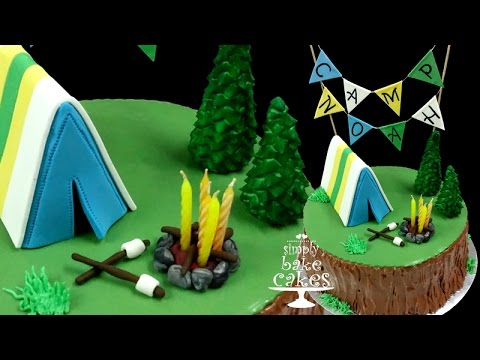 Camping themed birthday cake - TUTORIAL