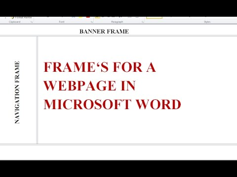How to Make Frames for a 'website' in Microsoft Word in 1 min.