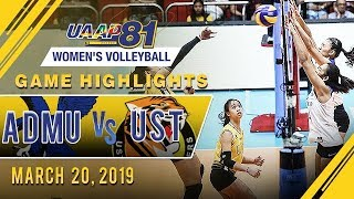 UAAP 81 WV: ADMU vs. UST | Game Highlights | March 20, 2019