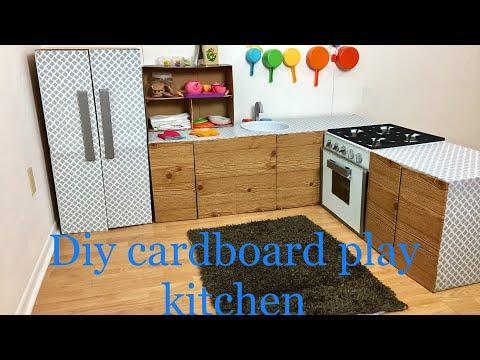 Diy cardboard kids play kitchen part 2/5