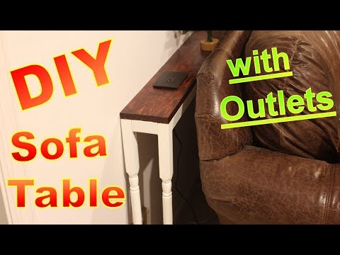 DIY Behind Sofa Table with Outlets