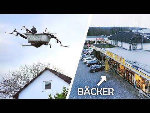 Mit der FLIEGENDEN BADEWANNE zum BÄCKER!   Bemannte Drohne #4