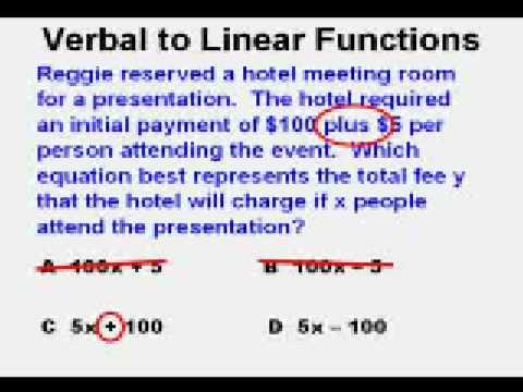 Verbal Description to Linear Function
