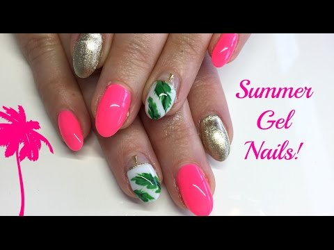 Watch Me Work | Pink, Gold and Palm Leaf Summer Nail Art