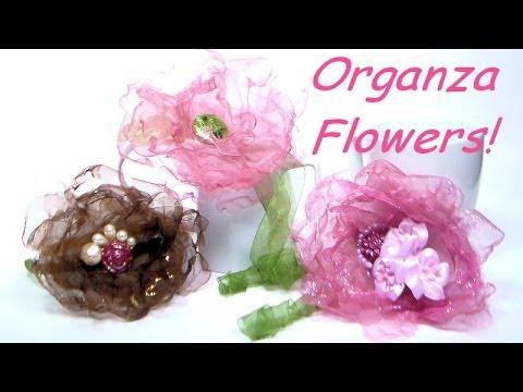 DIY organza flower hairclips