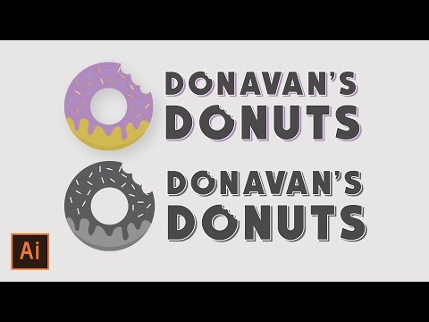 Illustrator Tutorial - Donut Company Logo (Simple & Easy Illustrator Logo Tutorial)