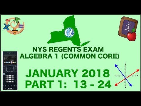 NYS Algebra 1 [Common Core] January 2018 Regents Exam || Part 1 #'s 13-24 ANSWERS