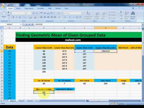 Finding Geometric Mean of Given Grouped Data in MS Excel