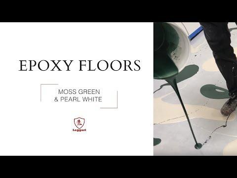 Moss Green and Pearl White Metallic Epoxy Flooring   Mimics Rare Norway Green Granite