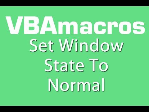 Set Window State To Normal - VBA Macros - Tutorial - MS Excel 2007, 2010, 2013