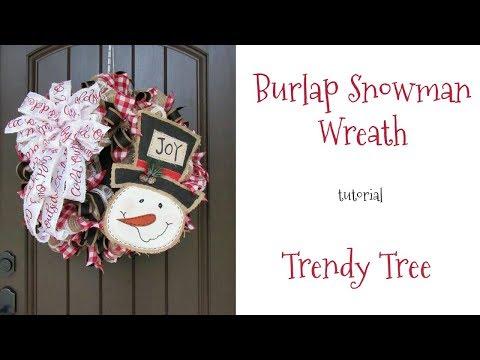 2017 Burlap Snowman Wreath Tutorial