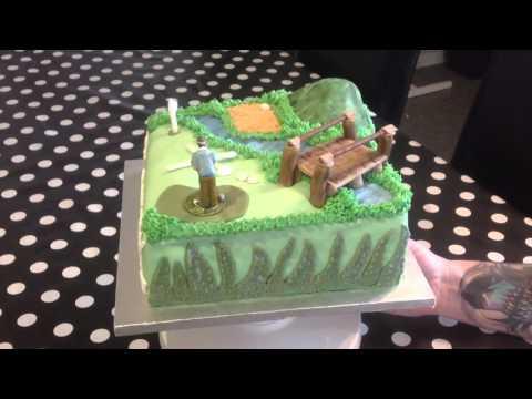 Golf theme fondant birthday cake