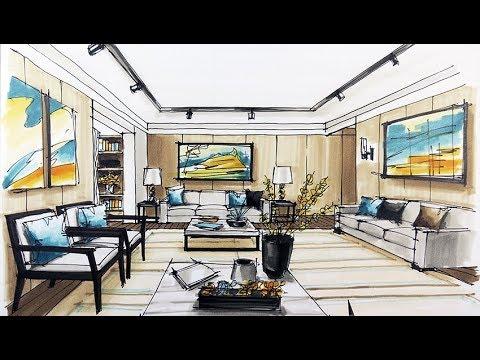 how to sketch interior design