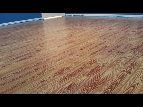 Painted Plywood Floors - Basketball Court - Applying the Gel Stain