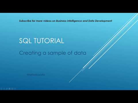 SQL Tutorial - Creating a sample of data