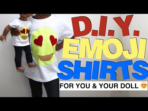 DIY EMOJI SHIRTS FOR YOU AND YOUR DOLL 😍| GLOW IN THE DARK MATCHING SET  | CRAFTING WITH KJ