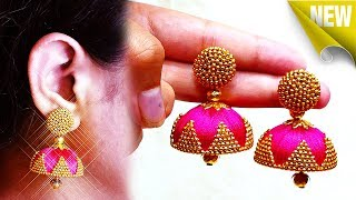 How to make silk thread jhumkas step by images
