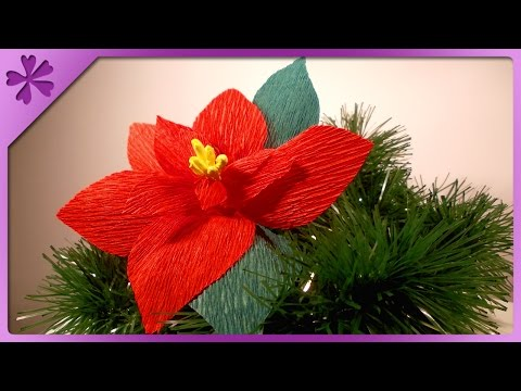 DIY Tissue paper poinsettia (ENG Subtitles) - Speed up #41