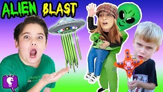 UFO Blaster VIDEO Game Play and Nerf Surprises with HobbyKidsTV