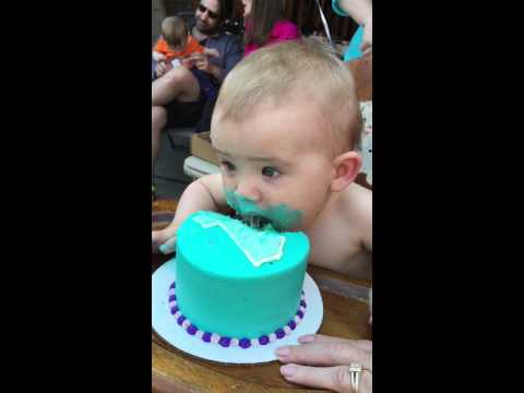 How one year old babies eat birthday cake!