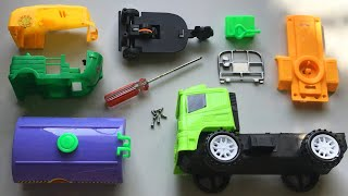 Assemble Yellow & Green Indian Auto Rickshaw And Green & Orange Dump Truck | Toy Vehicles Attached