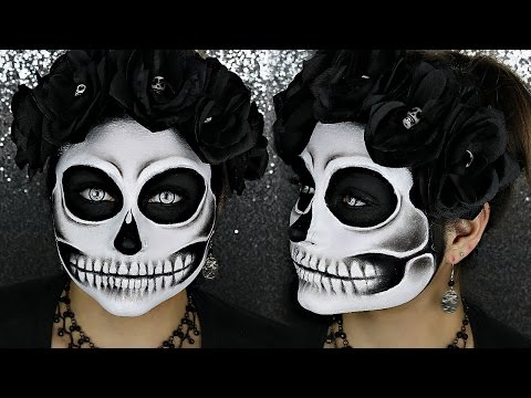 Black And White Detailed Skull Halloween Makeup Tutorial | BeautyByJosieK