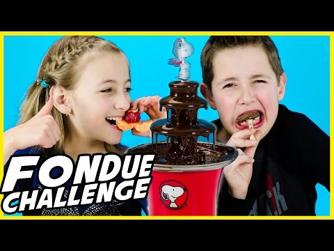 FONDUE CHALLENGE WITH SNOOPY PEANUTS CHOCOLATE FOUNTAIN!