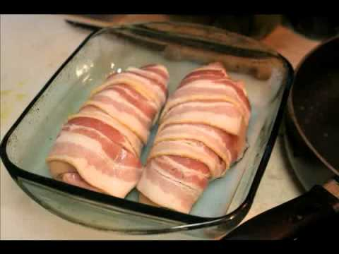 Mo Cooking Made Easy in 2 Minutes - Ham & pepper jack cheese stuffed chicken/ wrapped in bacon