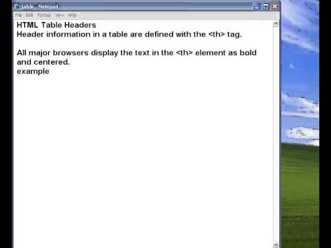 how to create html tables, borders, headers table tags