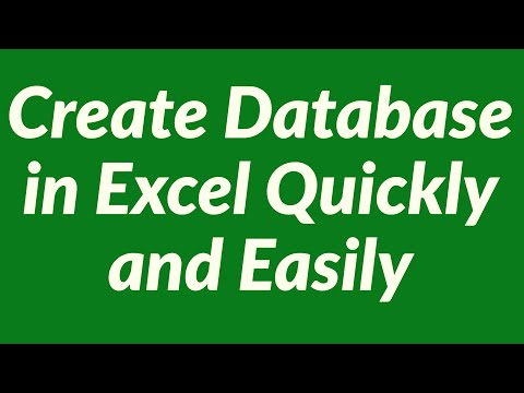 Create Database in Excel Quickly and Easily