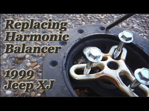 Replacing harmonic balancer Jeep Cherokee 1999 (xj)  Plus Removing Crank Bolt
