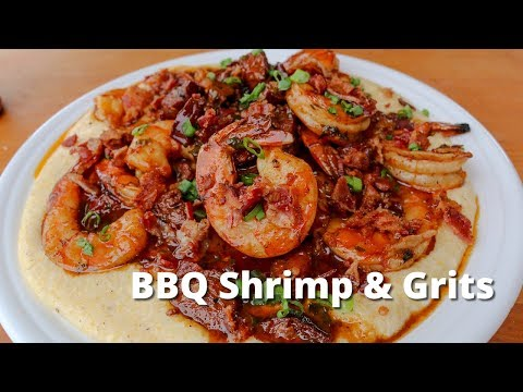 BBQ Shrimp and Grits Recipe | Grilled Shrimp and Cheese Grits on the Big Green Egg