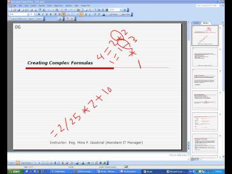 Microsoft Excel 2003 course: Excel Basics (06- Creating Complex Formulas)