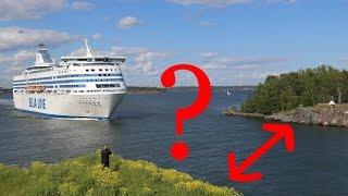 Huge Baltic ferry crossing a narrow path - Suomenlinna, Helsinki