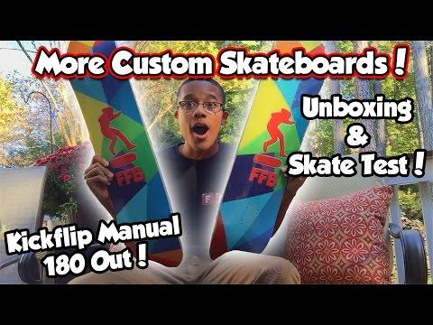 MORE CUSTOM SKATEBOARDS! | Board Setup + Kickflip Manual FS 180!
