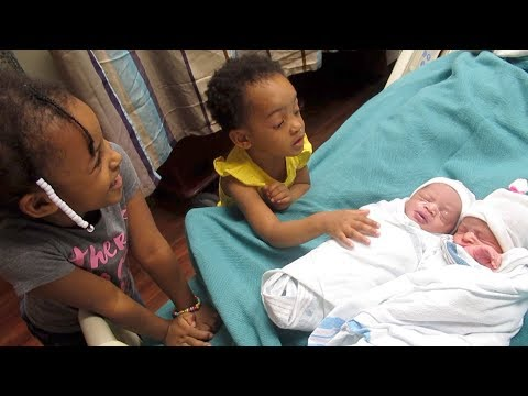 The Girls First Time Meeting The Newborn Twins | Raw Reaction
