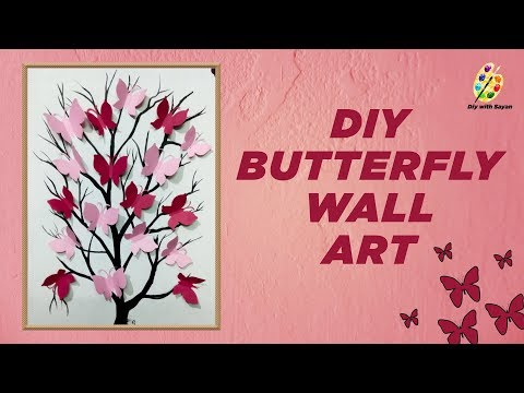 diy wall decor painting- 3d butterfly painting- step by step tutorial- DIY with syan