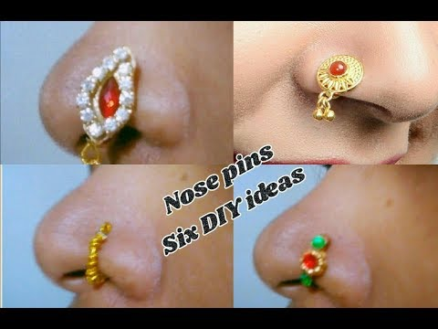6 DIY ideas of nose pin / nose ring | with silk thread | jewellery tutorials