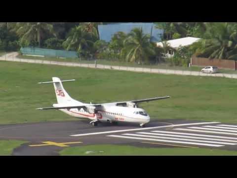 Air Tahiti take-off from Moorea Airport !