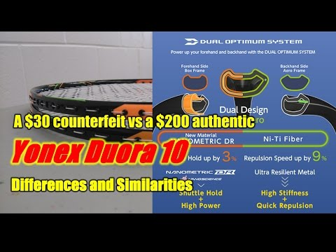Yonex Duora 10 Counterfeit vs Authentic Badminton racket comparison