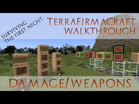 Surviving the First Night - TerraFirmaCraft Walkthrough - Intro to TFC Damage and Weapons