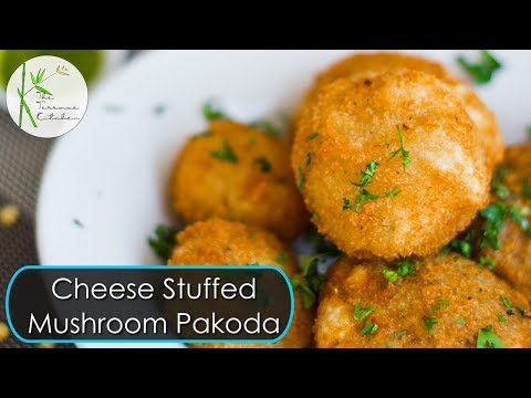 Cheese Stuffed Mushroom Pakoda | Mushroom Fritters ~ by The Terrace Kitchen