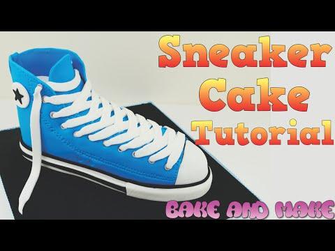How to make a Converse shoe sneaker cake tutorial. Bake and Make with Angela Capeski