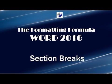 Word 2016   Section Breaks