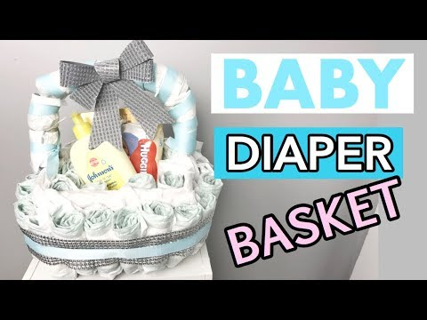 BABY SHOWER GIFT   HOW TO MAKE A DIAPER BASKET