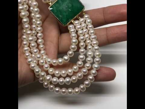 Multi Strand Pearl Necklace with Emerald