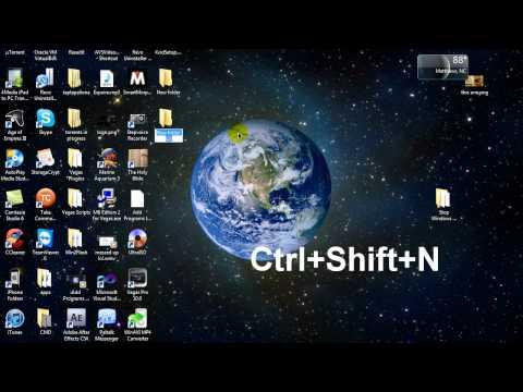 Shortcut Key To Create new Folder (Windows 7)